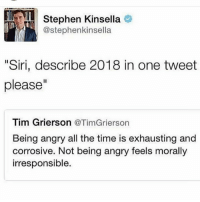 "Memes, Siri, and Stephen: Stephen Kinsella  @stephenkinsella  ""Siri, describe 2018 in one tweet  please""  Tim Grierson @TimGrierson  Being angry all the time is exhausting and  corrosive. Not being angry feels morally  irresponsible."