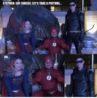 Memes, Stephen, and Time: STEPHEN: SAY CHEESE, LET'S TAKE A PICTURE...  arrowmemes  OK.. Picture time in Batwoman spot 😄👽⚡🎯 ArrowMemes . . stephenamell oliverqueen greenarrow teamarrow thearrow melissabenoist karazoel karadanvers supergirl supergirlmemes grantgustin barryallen theflash flash flashmemes Elseworlds batsignal gothamcity batwoman katekane dccomics crossoverevent Crossover superheroeshow