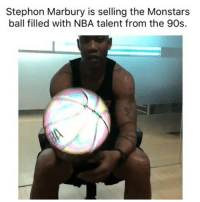 Basketball, Nba, and Sports: Stephon Marbury is selling the Monstars  ball filled with NBA talent from the 90s. Need that😂 nbamemes nba spacejam (Via ‪redapples‬-Twitter)