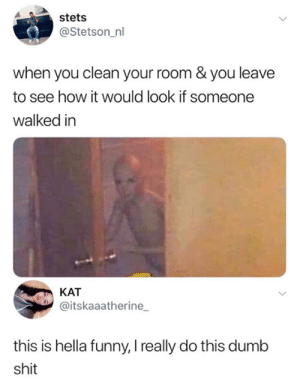 We all do it.: stets  @Stetson_nl  when you clean your room & you leave  to see how it would look if someone  walked in  KAT  @itskaaatherine  this is hella funny, I really do this dumb  shit We all do it.