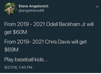 Baseball, Mlb, and Odell Beckham Jr.: Steve Angelovich  @angelsteve89  From 2019 2021 Odell Beckham Jr will  get $60M  From 2019- 2021 Chris Davis will get  $69M  Play baseball kids.  8/27/18, 1:43 PM It pays to baseball! 💯