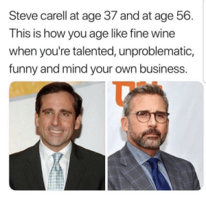 Be like Steve. by BlackEyedBroad MORE MEMES: Steve carell at age 37 and at age 56.  This is how you age like fine wine  when you're talented, unproblematic,  funny and mind your own business. Be like Steve. by BlackEyedBroad MORE MEMES