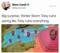 Good old reliable Toby (@drgrayfang): Steve Carell  @SteveCarell  drgrayfang  Big surprise, Winter Storm Toby ruins  spring like Toby ruins everything Good old reliable Toby (@drgrayfang)