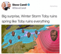 Winter Storm Toby Has Arrived...and Steve Carrell is Pissed: Steve Carell  @SteveCarell  drgrayfang  Big surprise, Winter Storm Toby ruins  spring like Toby ruins everything Winter Storm Toby Has Arrived...and Steve Carrell is Pissed