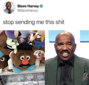 Steve Harvey Potato Head: Steve Harvey  @SteveHarvey  stop sending me this shit  w3,000  ws.000 2 Steve Harvey Potato Head