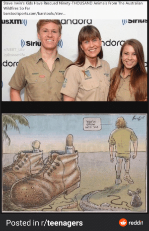 they certainly did: Steve Irwin's Kids Have Rescued Ninety-THOUSAND Animals From The Australian  Wildfires So Far  barstoolsports.com/barstoolu/stev.  usxm)  anaora  ((Sirius  ndorg  ((Siriu  r/NEET_Life  ig@neeetlife  dor  AUST  ROBERT  ATIM  You'LL  GROW  INTO 'EM  BINDI  BOB  Posted in r/teenagers  e reddit they certainly did