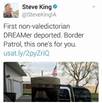 "👈🏽SWIPE LEFT DISGUSTING U.S. Congressman Steve King @SteveKingIA toasts to Juan's deportation. 📣""This one's for the undocumented farmworkers-doctors-lawyers-teachers-families that make it ahead without your whiteprivilege @SteveKingIA"" -non-valedictorian ""DREAMer"" @IvanCejatv We will bring you home Juan! ✊🏽✊🏾✊🏻✊🏿✊🏼 JusticeForJuan immigration undocumented not1more HereToStay Iowa: Steve King  h @Steve KingIA  First non-valedictorian  DREAMer deported. Border  Patrol, this one's for you.  usat.ly/2py  ZriQ 👈🏽SWIPE LEFT DISGUSTING U.S. Congressman Steve King @SteveKingIA toasts to Juan's deportation. 📣""This one's for the undocumented farmworkers-doctors-lawyers-teachers-families that make it ahead without your whiteprivilege @SteveKingIA"" -non-valedictorian ""DREAMer"" @IvanCejatv We will bring you home Juan! ✊🏽✊🏾✊🏻✊🏿✊🏼 JusticeForJuan immigration undocumented not1more HereToStay Iowa"