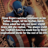 """Never Give Up - Superhero Motivation 👊🏻: Steve Rogers watched helplessly as his  father, Joseph, hit his mother Sarah  Steve asked her why she never stayed  down, and she replied, """"You always stand  Captain America would live by these  inspirational words for the rest of his life. Never Give Up - Superhero Motivation 👊🏻"""