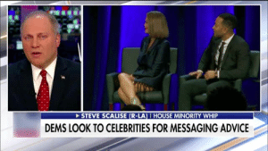 Advice, America, and Whip: STEVE SCALISE (R-LA) I HOUSE MINORITY WHIP  DEMS LOOK TO CELEBRITIES FOR MESSAGING ADVICE Congressman Scalise last night on Speaker Pelosi's 100 Days as Speaker of the House. A total FAILURE! Democrats must get on board with our GREAT America First agenda!