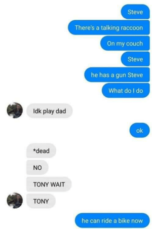 Play Dad via /r/memes http://bit.ly/2KlWy1v: Steve  There's a talking raccoon  On my couch  Steve  he has a gun Steve  What do I do  Idk play dad  ok  *dead  NO  TONY WAIT  TONY  he can ride a bike now Play Dad via /r/memes http://bit.ly/2KlWy1v