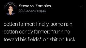 Farmer: Steve vs Zombies  @stevevsninjas  cotton farmer: finally, some rain  cotton candy farmer: *running  toward his fields* oh shit oh fuck