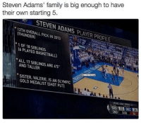 Nba, Steven Adams, and Spurs: Steven Adams' family is big enough to have  their own starting 5.  STENEN ADAMS PVAER PROFILE  PICK IN 2013  THUNDER  1 OF 18 SIBLINGS  PLAYED BASKETBALU  ALL 17 AND TALLER  ARE 65  SISTER, GOLD MEDALIST IS AN ISHOT OLYMPIC  NaNBAMEMES  SPURS END SERIES M  SAS 33 OKC Steven Adams' family is huge. #Thunder Nation