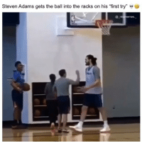 "Memes, Steven Adams, and 🤖: Steven Adams gets the ball into the racks on his ""first try"" »  @ n He said that confidently 👀😂🔥 - Follow @_nbamemes._"