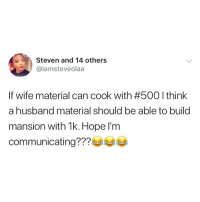 Memes, Husband, and Hope: Steven and 14 others  @iamsteveolaa  If wire material can cook with #500 I think  a husband material should be able to build  mansion with 1k. Hope l'm  communicating??? Ladies do you agree? 😂😂😂 . KraksTV