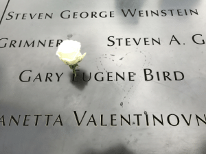 9/11, Birthday, and New York: STEVEN GEORGE WEINSTEIN  STEVEN A. G  RIMNEP  ΝΕΡ  GARY UGENE BIRD  ANETTA VALENTINOVN On a recent trip to New York I learned that white roses are placed in the names at the 9/11 Memorial to commemorate birthdays. Happy birthday Gary Bird