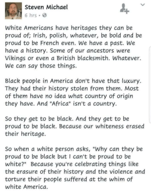 "Africa, America, and Irish: Steven Michael  6 hrs e  White Americans have heritages they can be  proud of; Irish, polish, whatever, be bold and be  proud to be French even. We have a past. We  have a history. Some of our ancestors were  Vikings or even a British blacksmith. Whatever.  We can say those things.  Black people in America don't have that luxury.  They had their history stolen from them. Most  of them have no idea what country of origirn  they have. And ""Africa"" isn't a country.  So they get to be black. And they get to be  proud to be black. Because our whiteness erased  their heritage.  So when a white person asks, ""Why can they be  proud to be black but I can't be proud to be  white?"" Because you're celebrating things like  the erasure of their history and the violence and  torture their people suffered at the whim of  white America aerrowhawk2017:  tripperfunsters: danchatvbb:  thedreamingwood: *DING DING DING* yep  REALLY GOOD  YES   Finally"