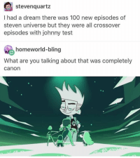Steven quartz  had a dream there was 100 new episodes of  steven universe but they were all crossover  episodes with johnny test  homeworld-bling  What are you talking about that was completely  Canon sapnu pues