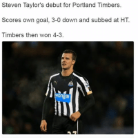 Steven Taylor has signed for Ipswich. Let's hope he has a better debut for them...: Steven Taylor's debut for Portland Timbers.  Scores own goal, 3-0 down and subbed at HT  Timbers then won 4-3.  Wongai Steven Taylor has signed for Ipswich. Let's hope he has a better debut for them...
