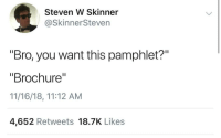 "Dank Memes, You, and Bro: Steven W Skinner  @SkinnerSteven  ""Bro, you want this pamphlet?""  ""Brochure""  11/16/18, 11:12 AM  4,652 Retweets 18.7K Likes 👏🏻"