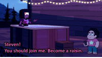 Target, Tumblr, and Blog: Steven!  You should join me. Become a raisin. snapbacksteven:  This is the Garnet of Relaxation, reblog to become a raisin