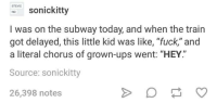 "the subways: STEVIE  Sonickitty  I was on the subway today, and when the train  got delayed, this little kid was like, ""fuck,"" and  got delayed, this little kid was like, ""fuck"" and  a literal chorus of grown-ups went: ""HEY  Source: sonickitty  26,398 notes"