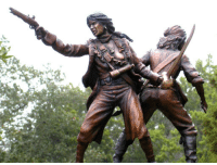 """stfusexists:  ccoastal:  hanars:  luckykrys:  thecreach:  luckykrys:  Anne Bonny and Mary Read were pirates, as renowned for their ruthlessness as for their gender, and during their short careers challenged the sailors' adage that a woman's presence on shipboard invites bad luck. Sculpture by Erik Christianson.  I'm not entirely sure that the statue really needed to have a tit out.  How dare women try to have nipples.  Actually I've seen this before and I can tell you— it's because these women were bad ass pirates and when they killed someone they'd expose one or both breasts so that when their victim died, (s)he knew that they were killed by a woman.  ACTUALLY Anne Bonny purposely wore loose fitting clothes and displayed her breasts openly at all times during battle - mainly because men were distracted by them, and she took pleasure in killing said men while they were too busy staring at her breasts. Mary Read dressed mainly as a man (after posing as her deceased brother, Mark, for the entirety of her childhood) and both ladies cross-dressed from time to time, hopping between ships. They were known as the 'fierce hell cats' due to their ferocious tempers, and were key elements to Captain 'Calico Jack' Rackham's crew - they were the only two known female pirates in the Golden Age of Caribbean piracy. IN FACT, when the ship was captured by the British Navy, Anne and Mary were the ONLY TWO pirates who fought while the males of the crew hid - they were all tried to be hung as pirates but Bonny and Read were both pregnant and were pardoned. Calico Jack was a lover to Bonny, and as he was to be hung, Bonny's final words to him were, """"Had you fought like a man, you need not be hung like a dog."""" Bonny and Read were possibly two of the most badass fucking pirates and they were FEMALE. The more you know.  Totally had an ale named after Anne Bonny and it was delicious. But not quite as delicious as this amazing story of lady pirates. : stfusexists:  ccoastal:  hanars:  luckyk"""
