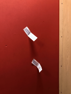 Trashy, Panty, and Fitting: Sticking the swimsuit panty liners to the fitting room wall.
