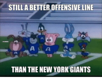 Eli Manning was sacked 8 times by the Philadelphia Eagles.: STILL A BETTER OFFENSIVE LINE  NFLMEMEZ  THAN THE NEW YORK GIANTS Eli Manning was sacked 8 times by the Philadelphia Eagles.