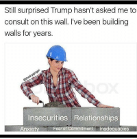 Memes, 🤖, and Hack: Still surprised Trump hasn't asked me to  consult on this wall. I've been building  walls for years  Insecurities Relationships  Anxiety  Fear of Commitment  Inadequacies @damning__humor got hacked at 20k go follow him he needs loyal followers and post funny memes 💯💯😂😂😂