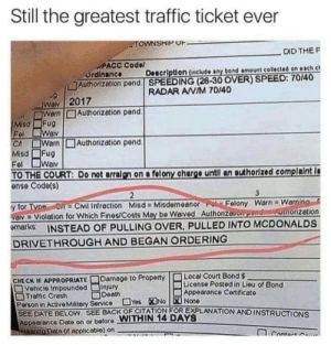 McDonalds, Traffic, and Date: Still the greatest traffic ticket ever  TOWNSHIP OF  . DID THE F  PACC Codel  Ordinance  Authorization pend. SPEEDING (26-30 OVER) SPEED: 70/40  Doscription (include any bond amount collected on each c  RADAR AWIM 70/40  2017  Authorization pend  WaN  Warn  Fug  Wav  Warn  Fug  WaN  Misd  Fel  CA  Misd  Authorizetion pend.  Fel  TO THE COURT: Do not arralgn on a felony chargo untl an authorizod complaint i  ense Code(s)  3  2  y for Tvoe C=Cvil Infraction Misd=Misdemeanor Fel Folony Warn=Warning  av=Violation for Which Fines/Costs May be Waived Authonzauon poVd thonzetion  emarks INSTEAD OF PULLING OVER, PULLED INTO MCDONALDS  DRIVETHROUGH AND BEGAN ORDERING  Local Court Bond $  Liconse Posted in Lieu of Bond  Appoarance Cortidicate  Damage to Property  CHECK IF APPROPRIATE  D0Vehicle Impounded  Traffic Crash  Person in ActivOMatory Service Yos No None  SEE DATE BELOW SEE BACK OF CITATION FOR EXPLANATION AND INSTRUCTIONS  Appoerance Date on or before WITHIN 14 DAYS  Ho0nno Date (it appliceblo) on  Dooth  CoOta W me irl