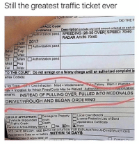 Dank, McDonalds, and Petty: Still the greatest traffic ticket ever  TOWNSHIP UF  DID THE  PACC Codol  Ordinanco Descrlption (inelude any bond amount collectod on each ct  orainance cdDcription (ecade any dan  □Authonzation pend | SPEEDING (28-30 OVER) SPEED: 70140  RADAR ANIM 70/40  wav 2017  Warn |□Authonzation pend  □Warn |□Authorization pend  Misd Fug  TO THE COURT: Do ntarran on a felony chargo until an authorized complaint I  θnse Code(s)  Felony Wern= Werning.  rytorType en:Civil Infraction Misd = Misdemeanor  vey Violation for Which Fines/Costs May be Waived Authonzauo pondutnonzetion  emarks INSTEAD OF PULLING OVER, PULLED INTO MCDONALDS  DRIVETHROUGH AND BEGAN ORDERING  CHECK IF APPROPRIATEロDamage to Property |ロLocal Court Bond $  □ Vehicle Impounded □Injury  este e INSTRUCTONS  Liconse Posted in Lieu of Bond  Appearance Certificate  □Traffic Crash  Death  Person in ActiveMatery Service DiosEN0 None  SEE DATE BELOW SEE BACK OF CITATION FOR EXPLANATION AND INSTRUCTIONS  Appoerance Date on or before WITHIN 14 DAYS  aoing Deto ifepplicablo) on I aspire to reach this level of petty