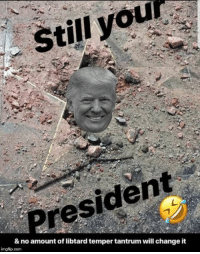 Boom!: Still you  President  & no amount of libtard temper tantrum will change it  imgflip.com Boom!