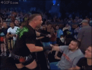 Sting disguised as Sting attacks RVD with chair: Sting disguised as Sting attacks RVD with chair