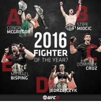 2016 will be remembered as the year of _______!: STIPE  CONO  MIOCIC  MCGREGOR  2016  FIGHTER  OF THE YEAR?  CRUZ  MICHAEL  BISPING  OA  JEDRZEJCZYK  LIFC  EA 2016 will be remembered as the year of _______!