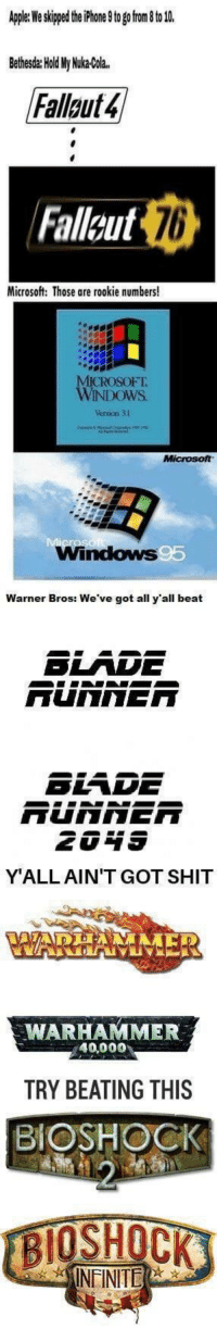 "Dank, Meme, and Microsoft: sto g on to l0  Bethesda: Hold My Nuka-Cola.  Fallaut4  Falleut  76  Microsoft: Those are rookie numbers!  ICROSOFT.  WİNDOWS  Verson 31  Windows  Warner Bros: We've got all y'all beat  SLADE  Y'ALLAIN'T GOT SHIT  WARHAMMER  40,000  TRY BEATING THIS  BIOSHOCK  INFINITE <p>Hell yah via /r/dank_meme <a href=""https://ift.tt/2JdyvhR"">https://ift.tt/2JdyvhR</a></p>"