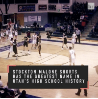 Sports, Utah, and High School: STOCKTON MAL ONE SHORTS  HAS THE GREATEST NAME IN  UTAH' S HIGH SCHOOL HISTORY Stockton Malone Shorts has the greatest name in Utah's high school history. He gets BUCKETS too.