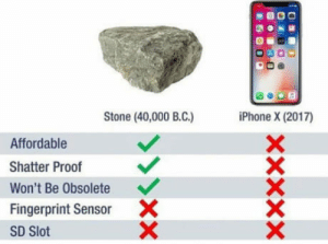 Iphone, Sad, and Truth: Stone (40,000 B.C.)  iPhone X (2017)  Affordable  Shatter Proof  Won't Be Obsolete  Fingerprint Sensor  SD Slot  X The sad truth