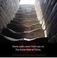 Memes, China, and 🤖: Stone stairs worn from use on  The Great Wall of China.