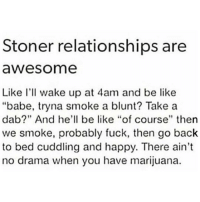 "Be Like, Relationships, and Weed: Stoner relationships are  awesome  Like I'll wake up at 4am and be like  ""babe, tryna smoke a blunt? Take a  dab?"" And he'll be like ""of course"" then  we smoke, probably fuck, then go back  to bed cuddling and happy. There ain't  no drama when you have marijuana. Couples who blaze together, stay together 💯 @toptree"