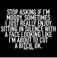 i mean seriously can't a girl be bitchy in peace? tacos food relatable rebel rebelcircus quotes lol f4f funny humor memes rebelcircusquotes fam tattoos goth love inspo goals inked circus fashion allblack skulls: STOP ASKING IF I'M  MOODY SOMETIMES  I JUST REALLY ENJOY  SITTING IN SILENCE WITH  A FACE LOOKING LIKE  IM ABOUT TO CUT  A BITCH,0K i mean seriously can't a girl be bitchy in peace? tacos food relatable rebel rebelcircus quotes lol f4f funny humor memes rebelcircusquotes fam tattoos goth love inspo goals inked circus fashion allblack skulls