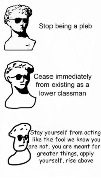 This is Edgy Memes and Fashy Dreams' fault Disdainus Maximus: Stop being a pleb  Cease immediately  from existing as a  lower classman  Stay yourself from acting  like the fool we know you  are not, you are meant for  greater things, apply  yourself, rise above This is Edgy Memes and Fashy Dreams' fault Disdainus Maximus