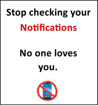 Memes, 🤖, and Page: Stop checking your  Notifications  No one loves  you.  0808- Follow our new page - @sadcasm.co