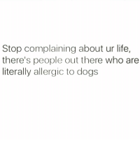 My sincere condolences: Stop complaining about ur life,  there's people out there who are  literally allergic to dogs My sincere condolences