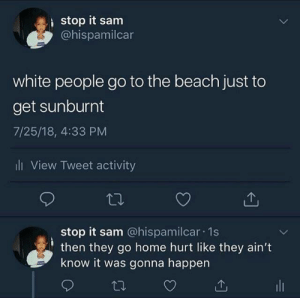 Dank, Memes, and Target: stop it sam  @hispamilcar  white people go to the beach just to  get sunburnt  7/25/18, 4:33 PM  ll View Tweet activity  stop it sam @hispamilcar 1s  then they go home hurt like they ain't  know it was gonna happen Gotta put on that 120 SPF by dexterwolf1 MORE MEMES