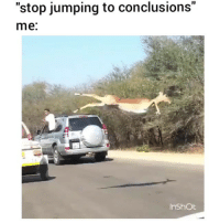 "Funny, Tag Someone, and Conclusion: ""stop jumping to conclusions""  me  Inshot Tag someone like this 😂"