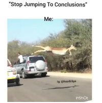 "Af, Funny, and Lmao: ""Stop Jumping To Conclusions""  Me:  lg: @hood clips  In Shot Hahah lmao me af 😂😂😂😂 ⏭ follow us @hoodclips ⏮ HoodClips comedy HoodComedy"