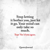 "Quotes Journal <3: Stop letting  it bother you, just let  it go. Your mind can  only take so  much  Type ""Yes' if you agree.  Quotes ournal Quotes Journal <3"