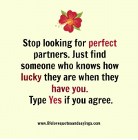 How, Yes, and Looking: Stop looking for perfect  partners. lust find  someone who knows how  lucky they are when they  have you.  lype Yes if you agree.  www.lifelovequotesandsayings.com