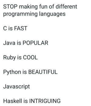 Awkward Silence!!: STOP making fun of different  programming languages  C is FAST  Java is POPULAR  Ruby is COOL  Python is BEAUTIFUL  Javascript  Haskell is INTRIGUING Awkward Silence!!