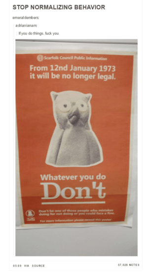 Its not cool just because everyone else is doing it: STOP NORMALIZING BEHAVIOR  emeraldembers:  adrianianam:  If you do things, fuck you  Scarfolk Council Public Information  From 12nd January 1973  it will be no longer legal.  Whatever you do  Don't  Don't be one of those people who mistakes  doing for not doing or you could face a fine.  05.09 VIA SOURCE  57,028 NOTES Its not cool just because everyone else is doing it